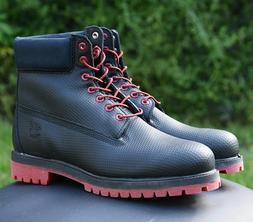 Timberland 6 Inch Premium Waterproof Boot Mens Black Red Hel
