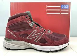 New Balance 990v4 Made In USA Mid Boots Burgundy Mens Shoes