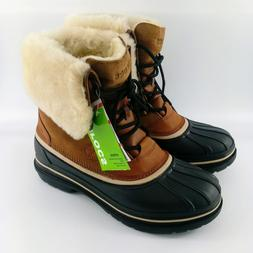 Crocs Allcast II Luxe Winter Snow Boots - Wheat Brown / Blac