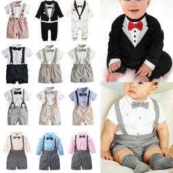 Baby Toddler Boy Wedding Christening Tuxedo Formal Bow Tie S