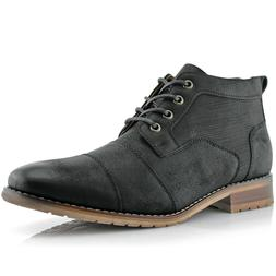 Men's Ankle Fashion Dress Casual Lace Up Mid Chukka Leather