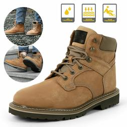 Brown Men's Work Boots Safety Steel Toe Leather Waterproof C