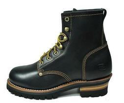 SKECHERS Cascades Black Leather Shoes Lace Up Ankle Logger B