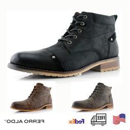 Ferro Aldo Men's Shoes Classic Suede Brogue Mid-Top Zip Hiki