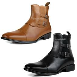Fashion Men Pull-on Ankle Dress Boots Shoes Double Buckled S