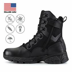 FINAL SALE Men's Black 8'' Waterproof Boots With Side Zipper