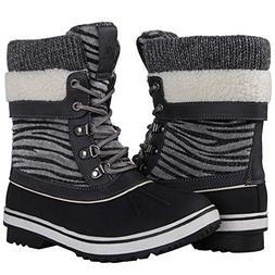GLOBALWIN Women's Grey Zebra Stripe Winter Snow Boots 10M US