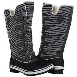 Globalwin Women's Grey Zebra Stripe Winter Snow Boots 7.5M U