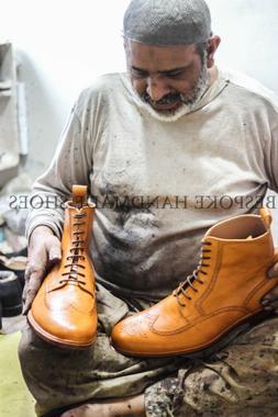 Handmade Men's Genuine Tan Leather Oxford Derby Formal / Cas