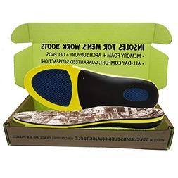 Insoles for Men's Work Boots with Extra Cushion :: Full Leng