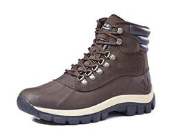 KINGSHOW Men's M0705 Water Proof Brown Leather Rubber Sole W