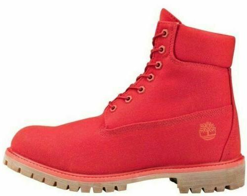 Timberland Men's Premium 6 inch Fabric Red Boots Style