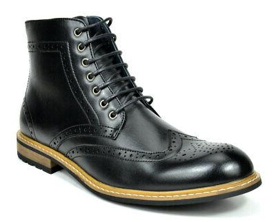 Bruno Marc Lace Up Motorcycle Boots Oxford Dress Ankle Boots