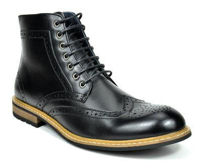 Bruno Marc Lace Up Motorcycle Leather Boots Oxford Boots