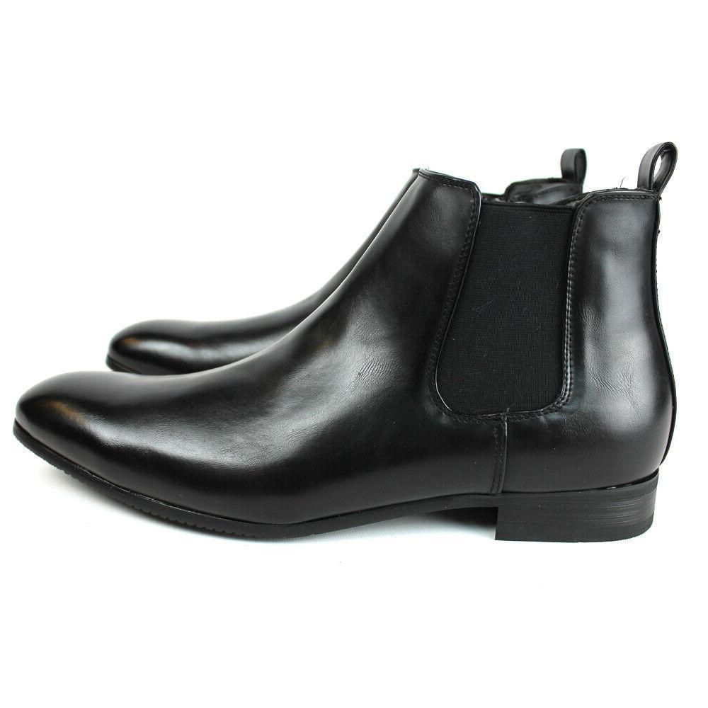 Black Dress Boots Side Zipper Round Chelsea