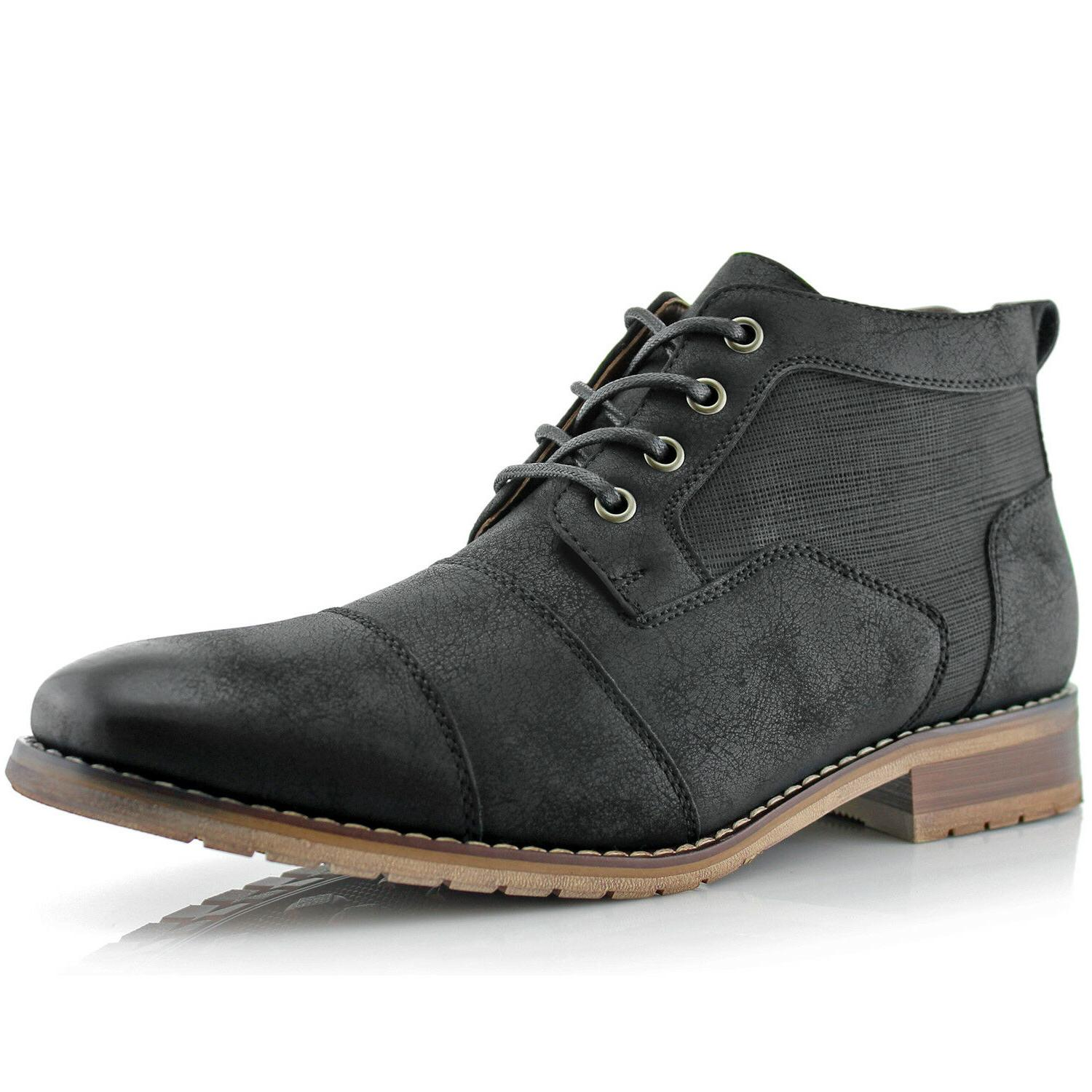 Casual Chukka Leather Zipper Boots