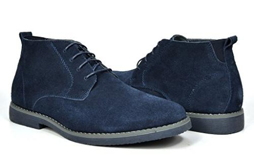 fe747c951e0 Bruno Marc Men's Chukka Navy Suede Leather Chukka Desert Oxford Ankle Boots  - 8 M US