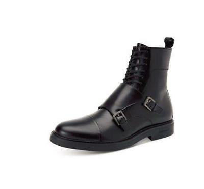 Calvin Klein Davis Monk Double Straps Zipper Black Leather M