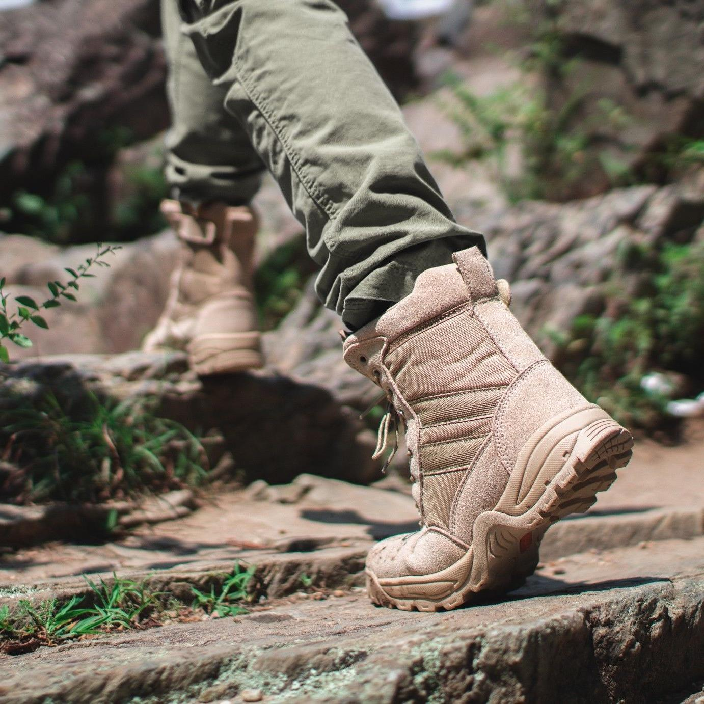 FINAL Desert Tan Military Tactical Work Boots with Zipper
