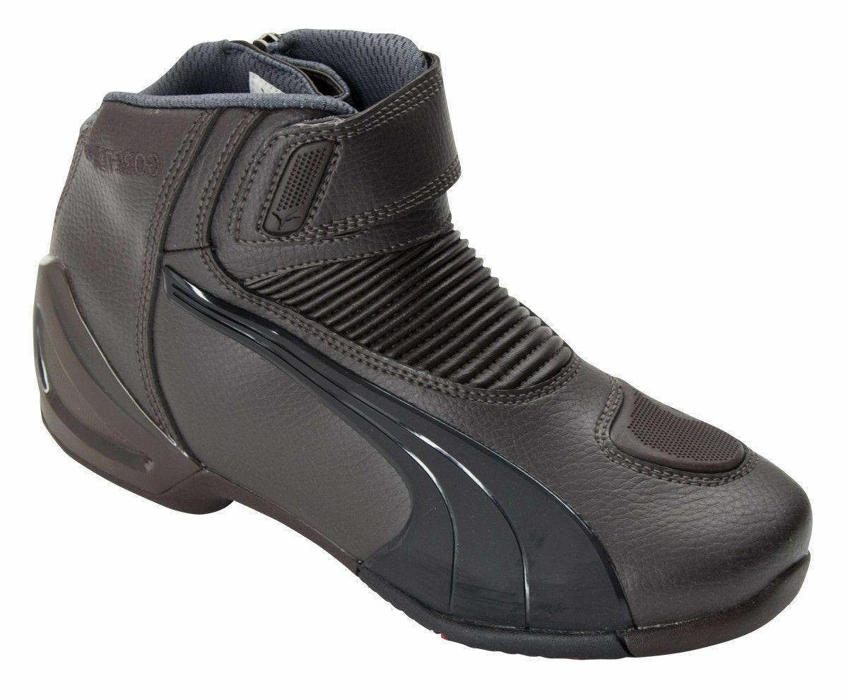 Puma Flat2 GTX V2 Brown Leather Motorcycle Boot Stripes Shoe