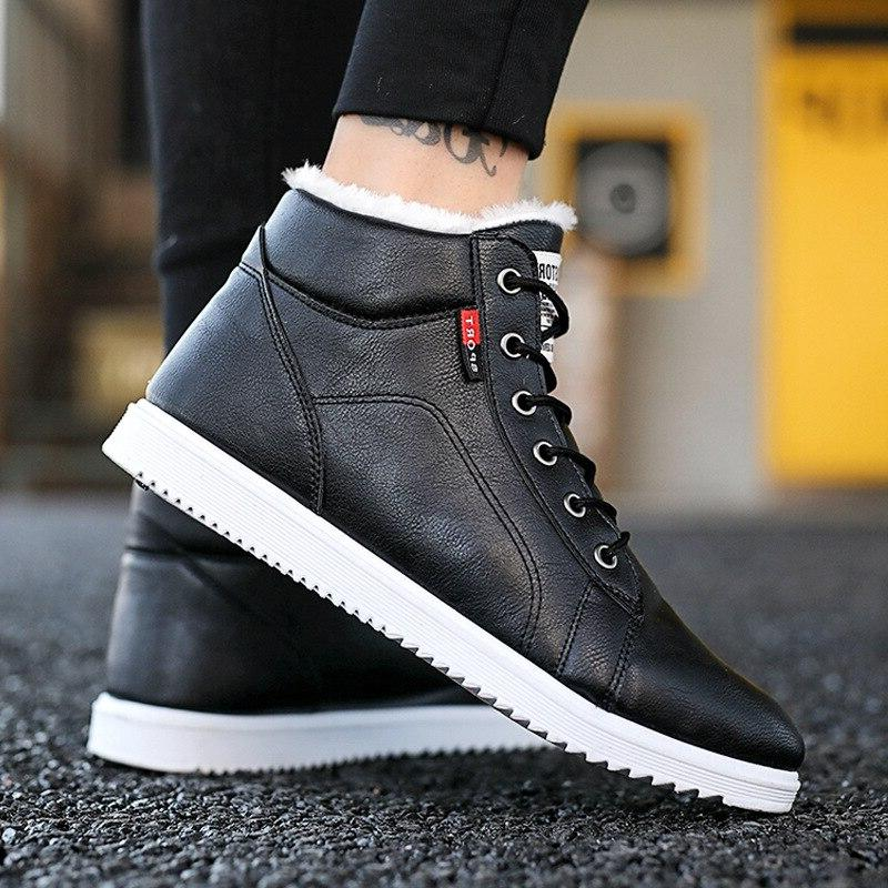 <font><b>Men</b></font> <font><b>Boots</b></font> Plush Leather Fleeces Cotton Shoes Warm Black Gray Platform Sneakers