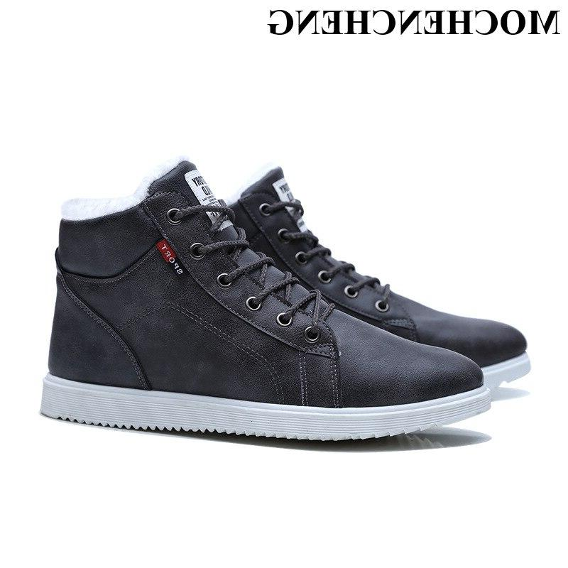 <font><b>Men</b></font> <font><b>Boots</b></font> with Plush Cotton Shoes Warm Platform Causal