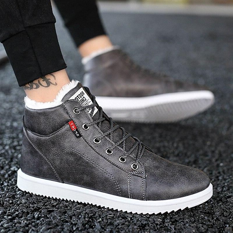 <font><b>Men</b></font> Winter <font><b>Boots</b></font> with Plush Fleeces Shoes Waterproof Black Platform Sneakers