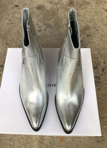 Calvin Klein Jeans Alden Boots Men Silver Tumbled Leather 9