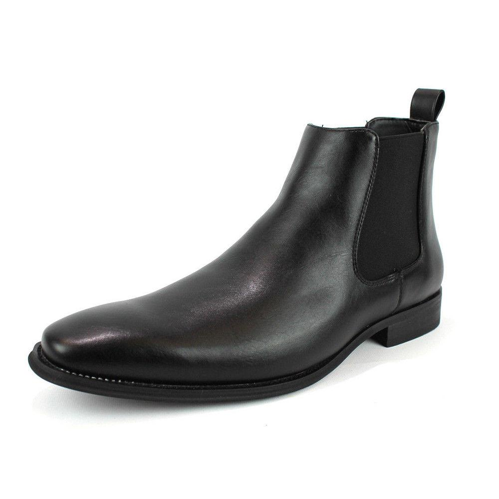be10cf31d588 Men s Ankle Dress Boots Slip On Almond Round
