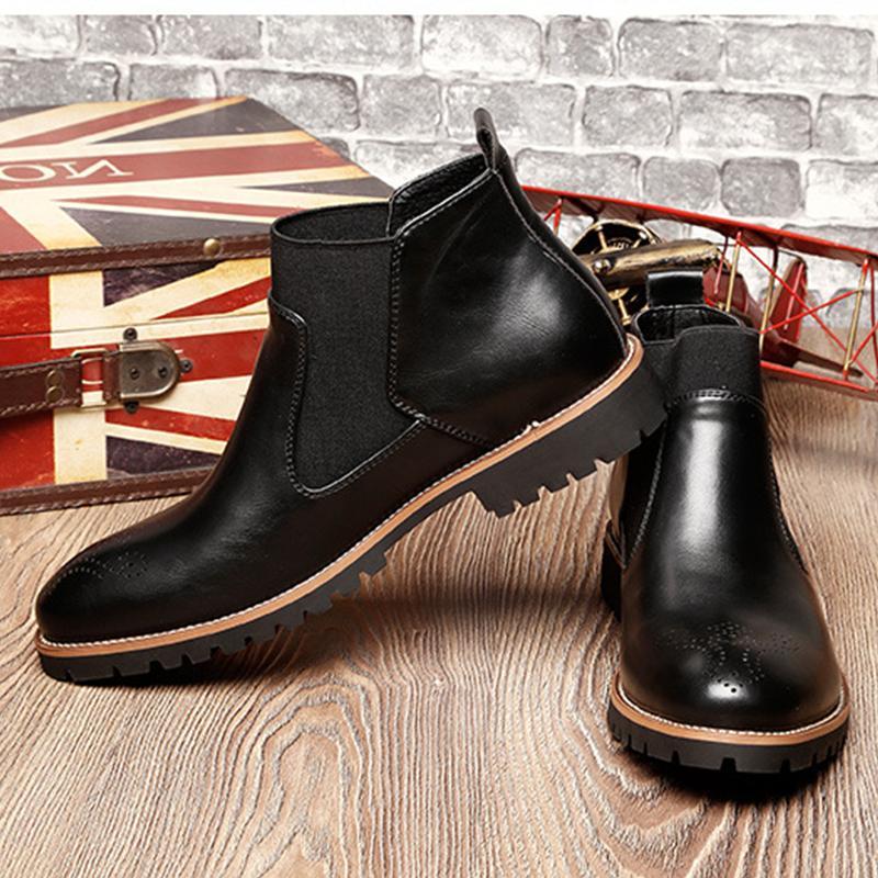 Men's Ankle Dress Slip On Almond Round Toe Leather