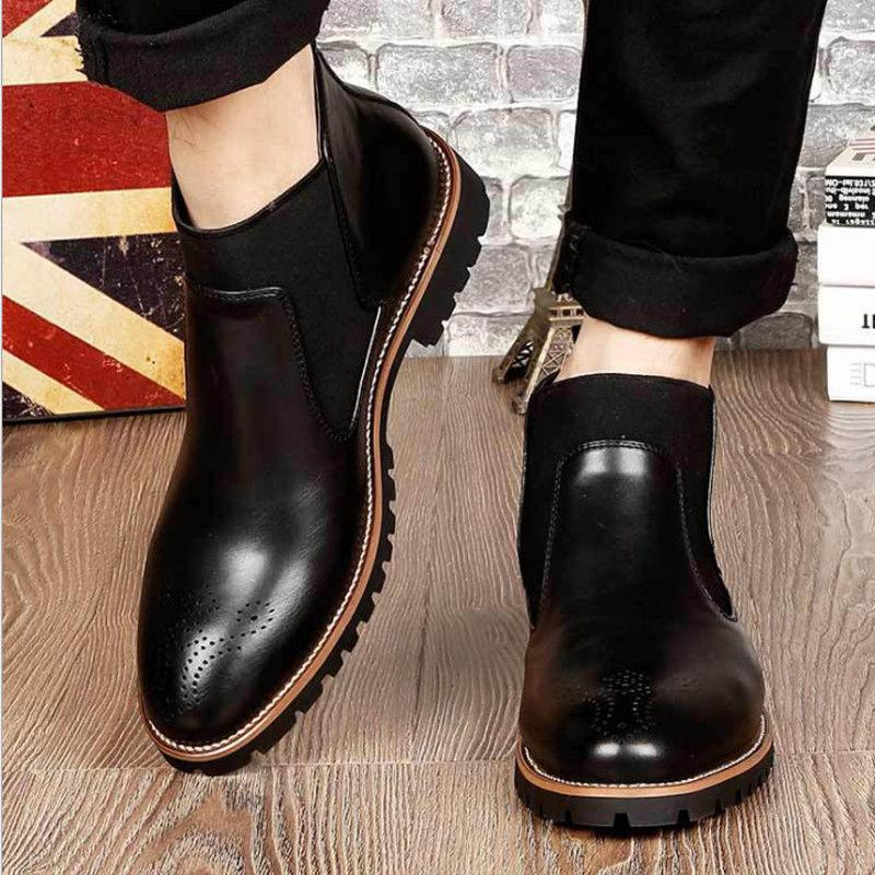 Men's Ankle Dress Almond Round Toe Leather