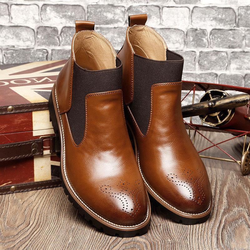 Men's Dress Almond Round Leather