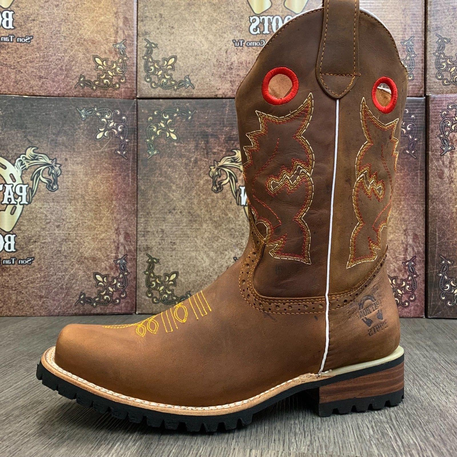 MEN'S BROWN WESTERN COWBOY SQUARE CRAZY LEATHER