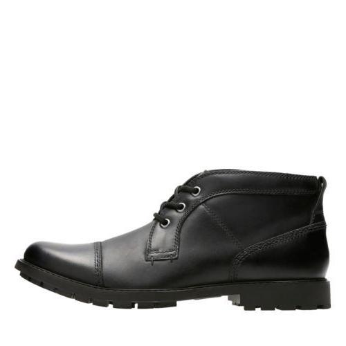 Clarks Men's Black Leather Chukka Boot 26129348
