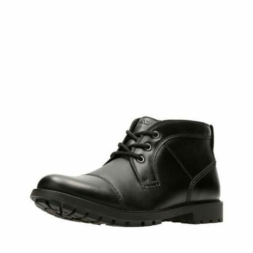men s curington top black leather chukka