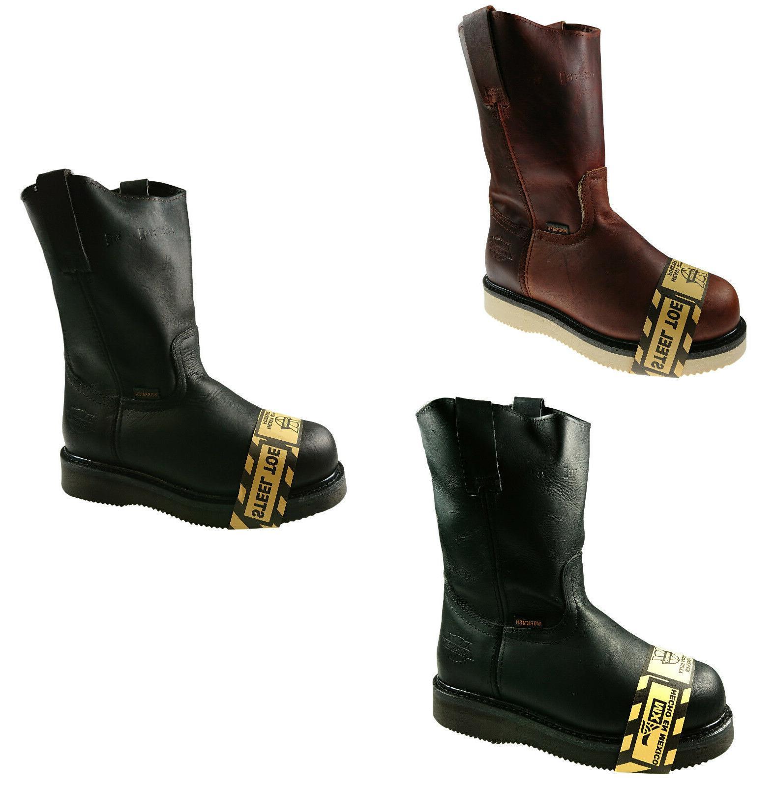 men s genuine leather steel toe work