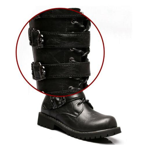 Men's High Motorcycle Boots Black Punk Retro