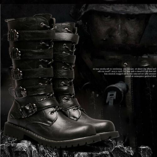Men's Top Motorcycle Boots Black Retro Knight