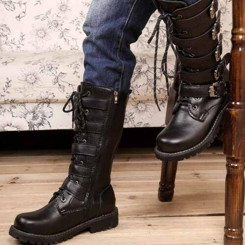 Men's High Top Combat Motorcycle Boots Black Punk Retro Mili