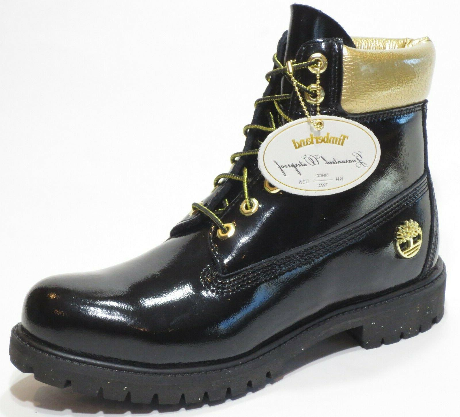 TIMBERLAND 6 INCH PREMIUM BOOTS GLOSS BLACK MENS SPECIAL