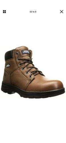 Skechers Men's Relaxed Fit Work Steel Toe Boot Brown EH Rate