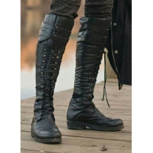 Men's Retro Pirate High Boots Combat Boot Lace Up Shoes