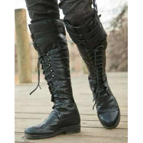 Men's Retro Pirate High Boots Combat Lace Up Leather