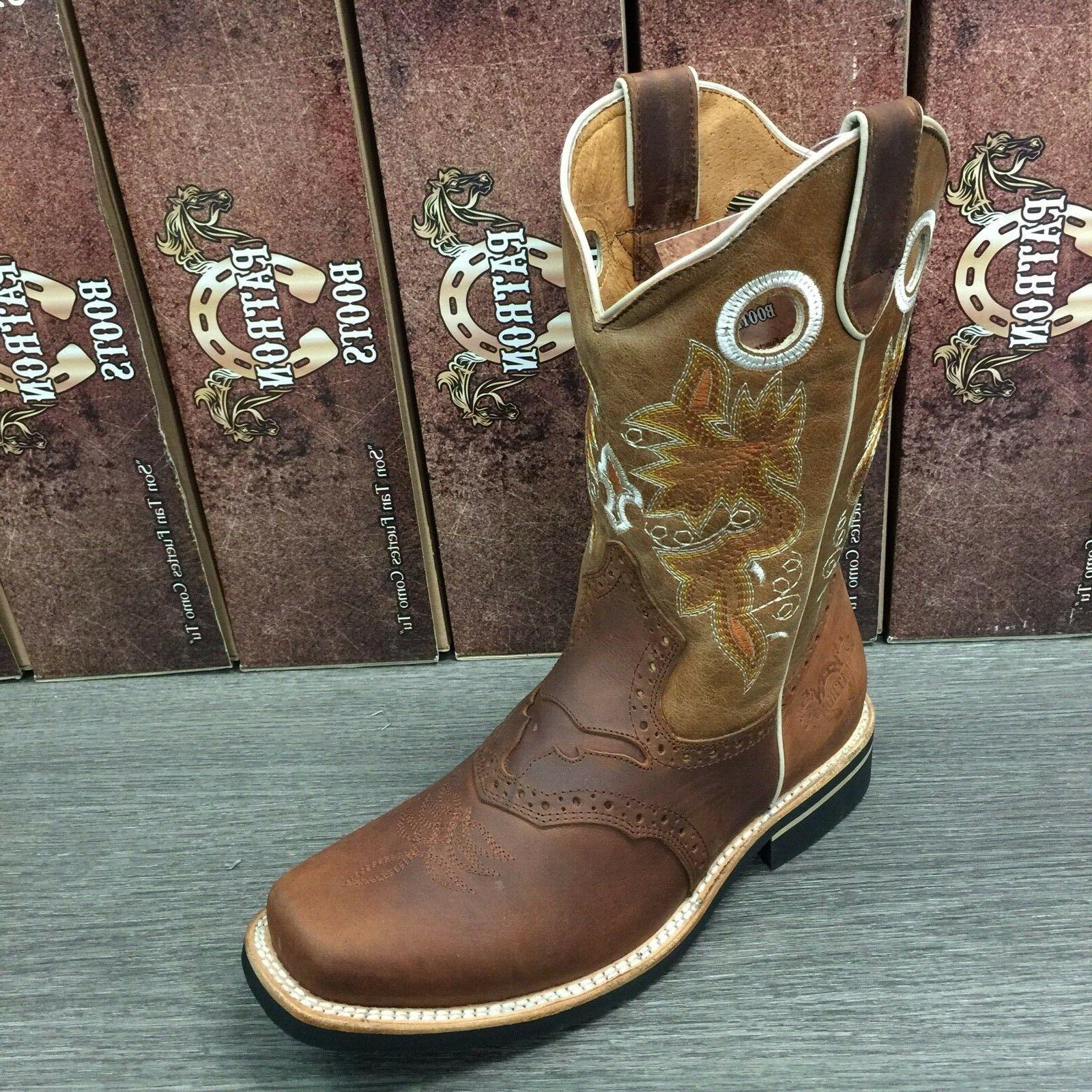 MEN'S RODEO COWBOY GENUINE WESTERN SQUARE TOE WORK