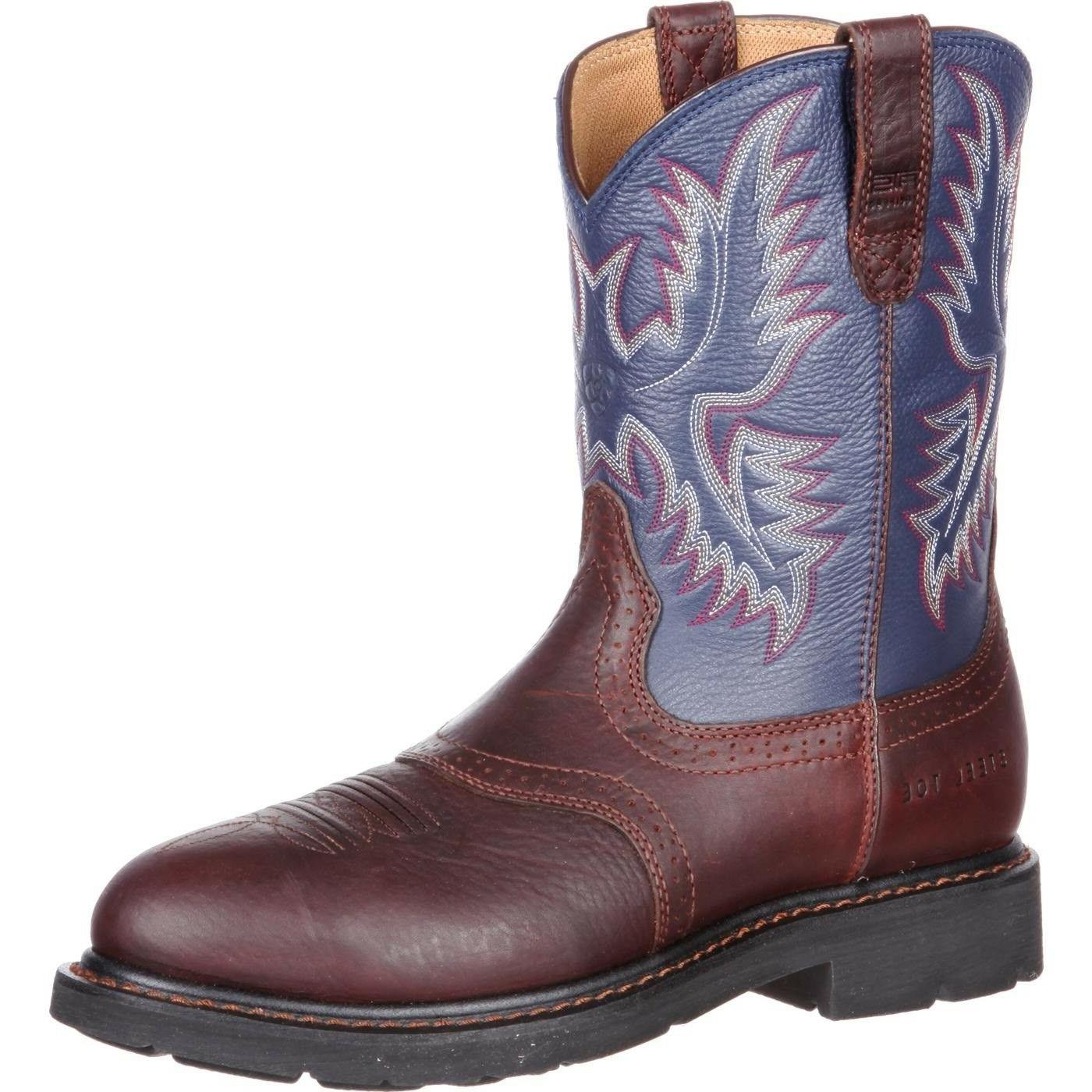 Ariat® Men's Sierra Saddle Redwood/Blue Steel Toe Work Boot