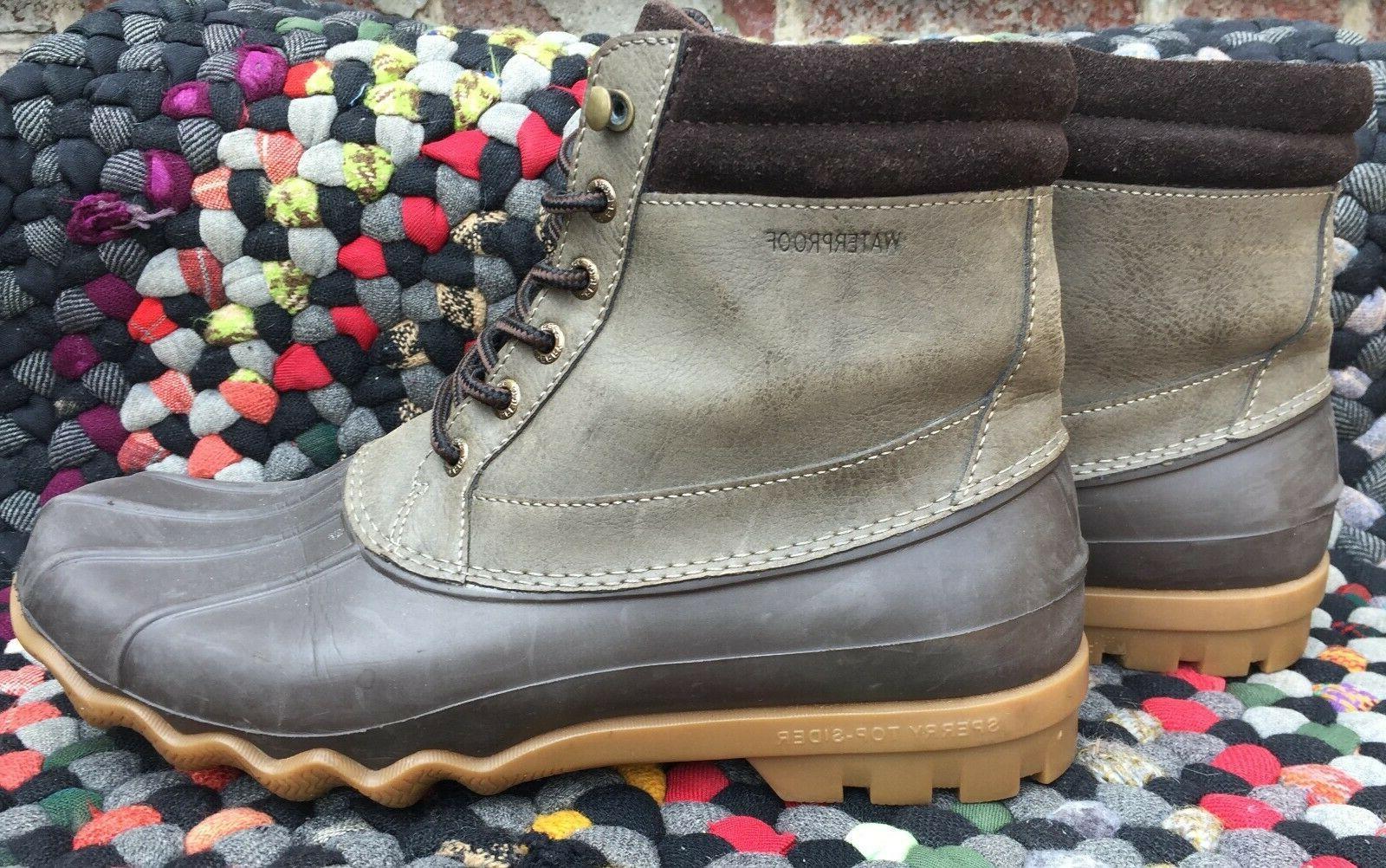 Men's Brewster Rain Duck Boot Waterproof Brown Leather 8