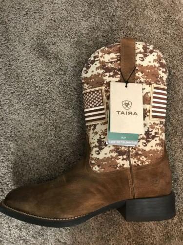 Ariat Men's Sport Patriot Camo American Flag Boot Square Toe
