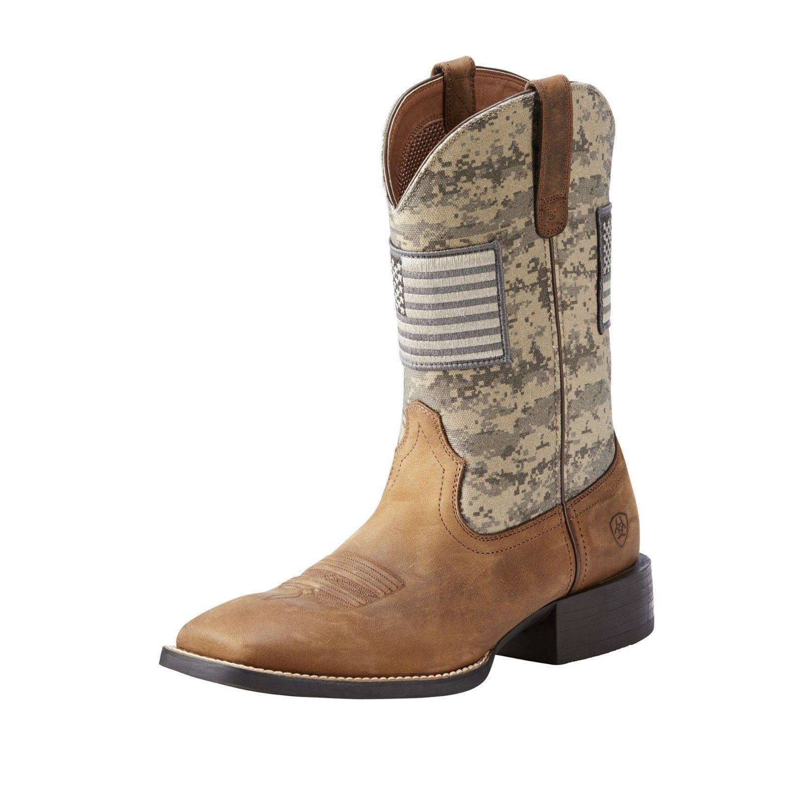 Ariat® Men's Sport Patriot Flag Sage & Distressed Brown Boo