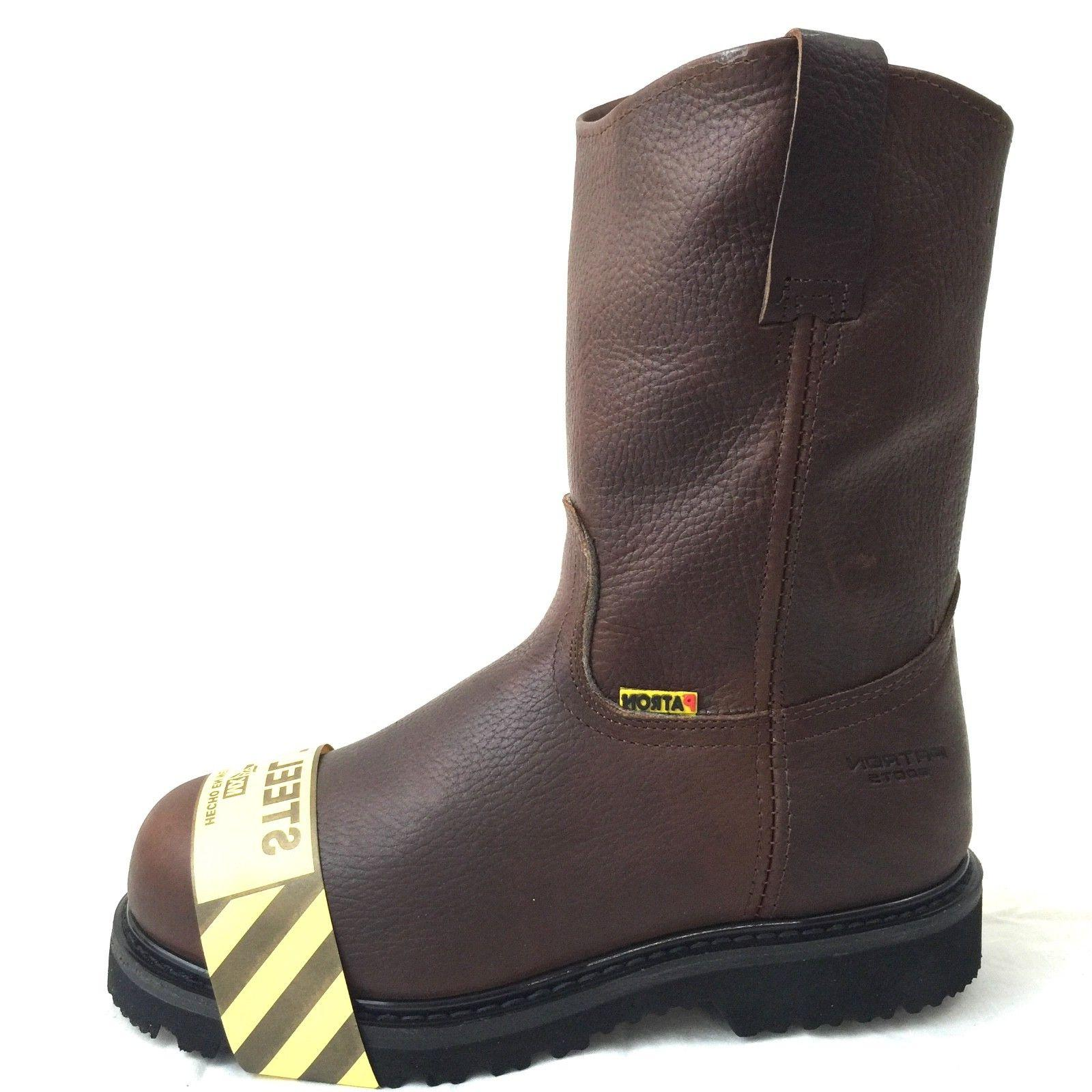 MEN'S STEEL TOE WORK BOOTS ON SAFETY GENUINE LEATHER BROWN