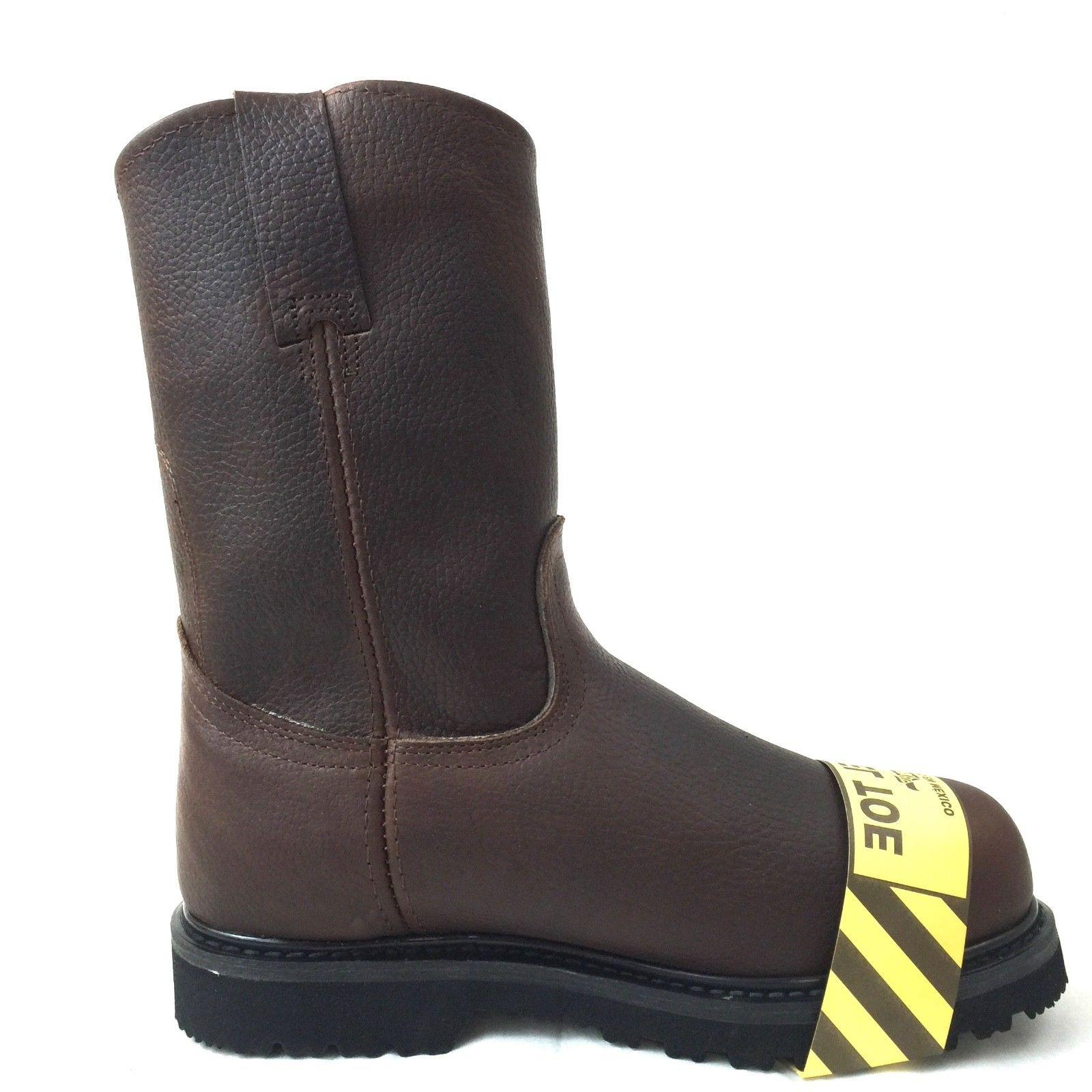 MEN'S STEEL TOE BOOTS ON SAFETY GENUINE OIL BROWN